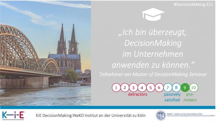 """""""Ich bin überzeugt, DecisionMaking im Unternehmen anwenden zu können."""" Teilnehmer am Master of DecisionMaking Seminar"""