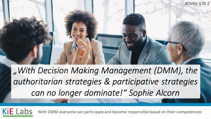 """""""With Decision Making Management (DMM), the authoritarian strategies as well as participative strategies can no longer dominate."""" Sophie Alcorn"""
